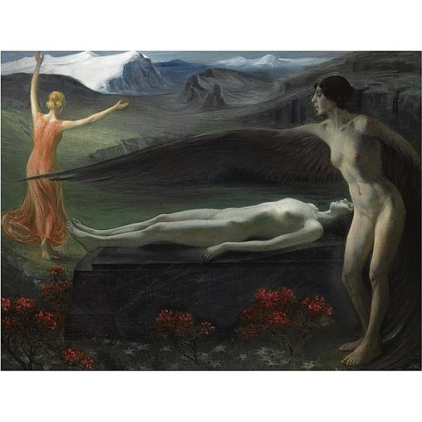 Paul Schad-Rossa , German 1862-1916 Into Eternity oil on canvas