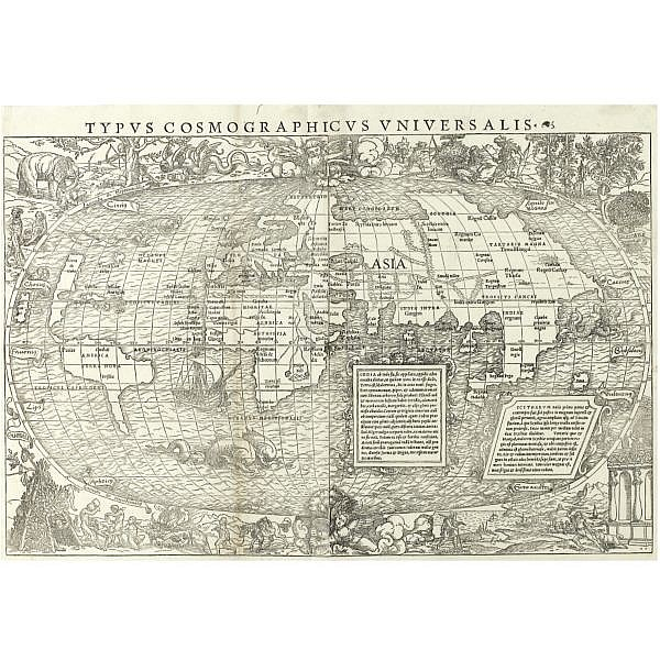 World--[Münster, Sebastian] , Typis cosmographicus universalis . [Basle, 1532], 370 x 550mm., folding woodcut map of the world, evidence of the old folds