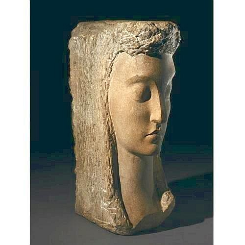 JOSE DE CREEFT 1884-1982 LA DAME AU PIQUE measurements height 24 in. alternate measurements 61 cm. limestone Condition Note: in generally very good condition, except for surface dirt We are pleased to provide you with a general report of the
