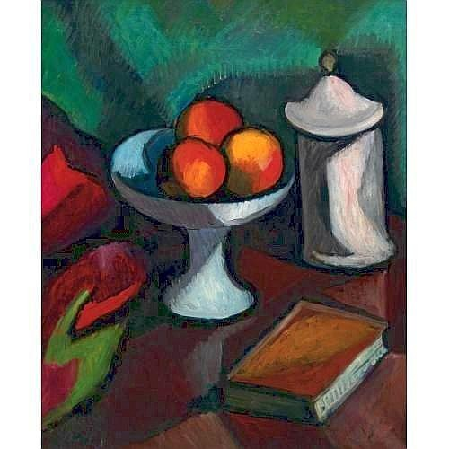MANUEL ORT™Z DE ZARATE 1887-1946 NATURE MORTE measurements 25.625 by 21.25 in. alternate measurements 65 by 54 cm. signed Ortiz (lower left) oil on canvas Condition Note: canvas is unlined and in good condition, though slack and buckling a little in