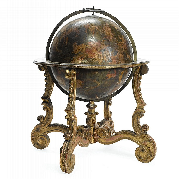 A LOUIS XIV CELESTIAL GLOBE ON CARVED GILTWOOD STAND THE GLOBE DATED 1700, SIGNED GUILLAUME DELISLE