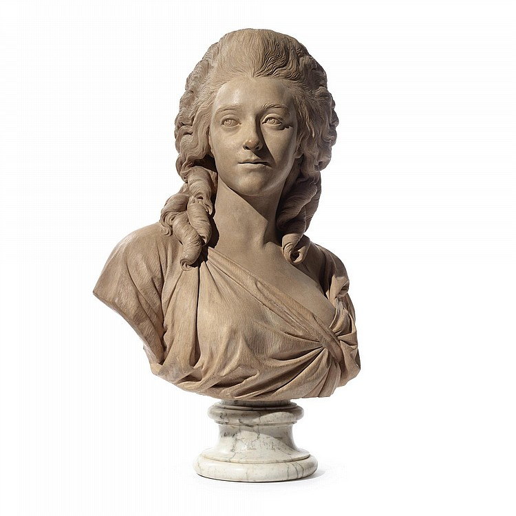 A FRENCH TERRACOTTA BUST OF MADAME DE BONNARD, NÉE ANNE-CHARLOTTE-SOPHIE SILVESTRE, BY AUGUSTIN PAJOU (1730-1809) DATED 1780