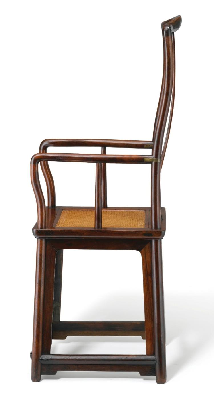 A PAIR OF LARGE HUANGHUALI HIGH CONTINUOUS YOKEBACK ARMCHAIRS LATE MING DYNASTY |