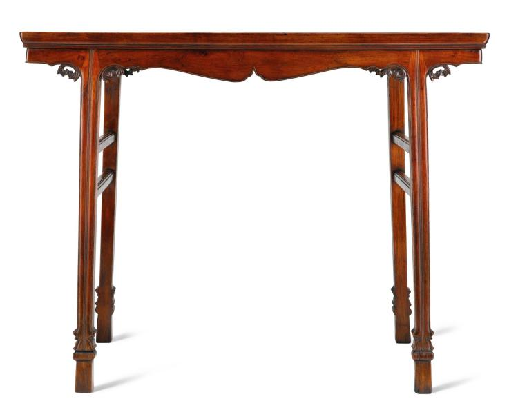 A HUANGHUALI AND GREEN STONE CHAJIANSUN RECESSED LEG WINE TABLE LATE MING DYNASTY |