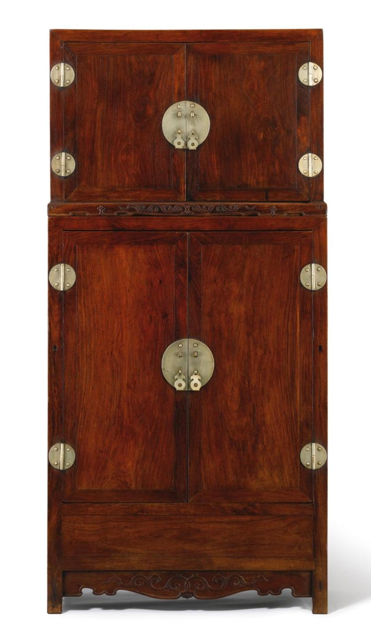 A HUANGHUALI COMPOUND CABINET WITH STAND, SIJIANGUI LATE MING DYNASTY |