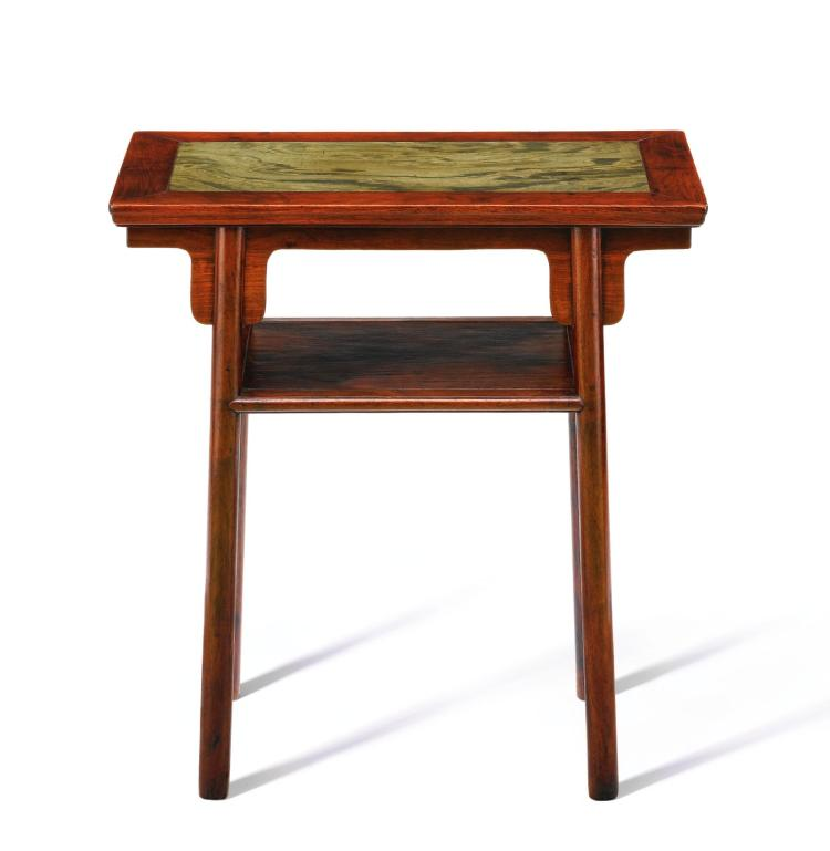 A SMALL HUANGHUALI AND GREEN STONE RECESSED-LEG TABLE WITH A SHELF, PINGTOUAN LATE MING DYNASTY |