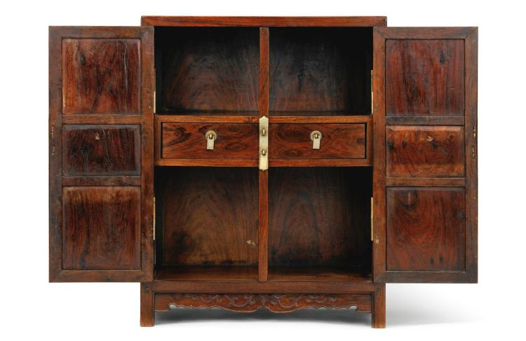 A PAIR OF HUANGHUALI SQUARE CORNER KANG CABINETS LATE MING DYNASTY |