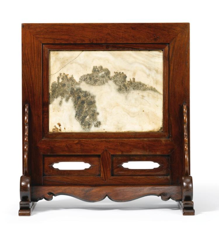 A LARGE HUANGHUALI AND DALISHI MARBLE TABLE SCREEN LATE MING DYNASTY |