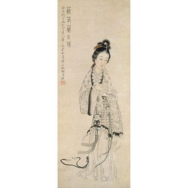 Hu Xigui 1839-1883 , LADY HOLDING A BOOK ink and colour on paper, framed