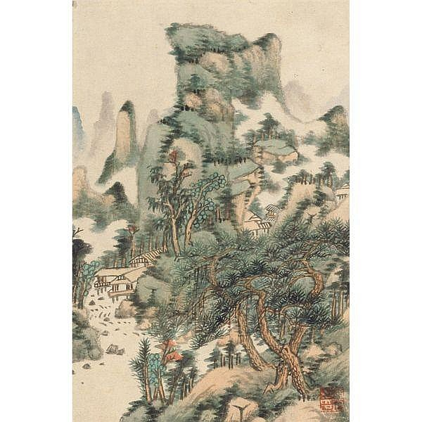 Huang Jun 1775-1850 , LANDSCAPES AFTER WANG YUANQI (1642-1715) ink on paper; ink and colour on paper, set of eight leaves, framed