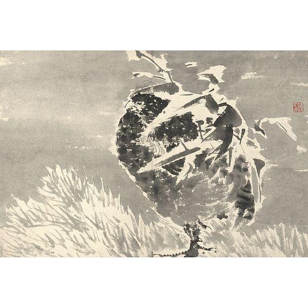 Ren Yi 1840-1896 , FLOWERS AND BIRDS ink on paper, album of twelve leaves