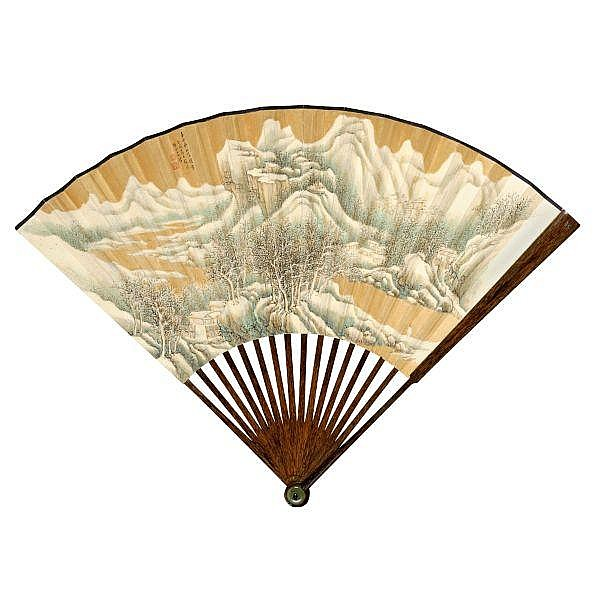 Zhang Shiyuan 1898-1959 , SNOWY MOUNTAINS ink and colour on gold-flecked paper, folding fan