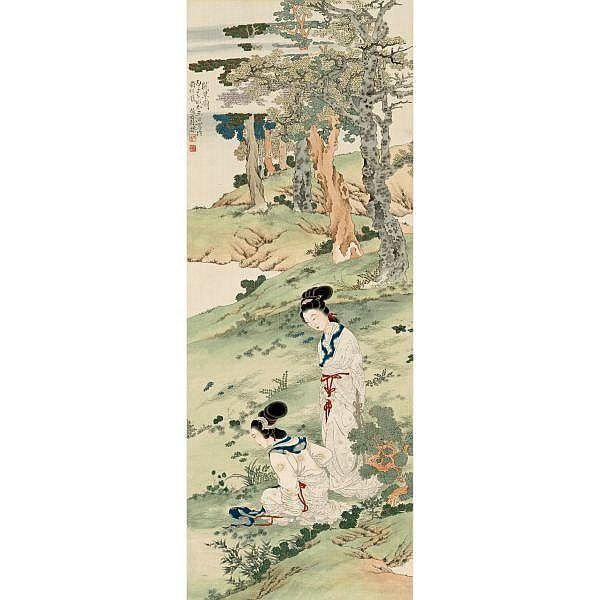 Xu Cao 1899-1961 , TWO LADIES ink and colour on silk, hanging scroll