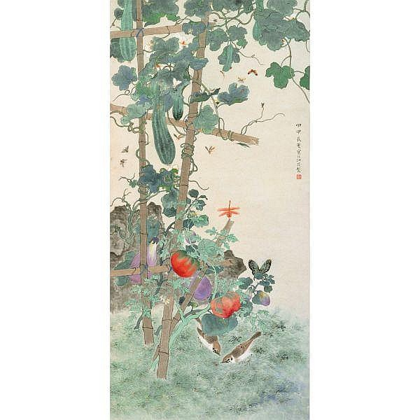 Jiang Hanting 1903-1963 , SPRING GARDEN ink and colour on paper, hanging scroll