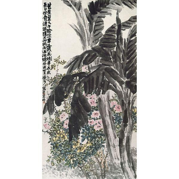 Chen Hengke 1876-1923 , CHINA ROSES AND BANANA TREES ink and colour on paper, hanging scroll