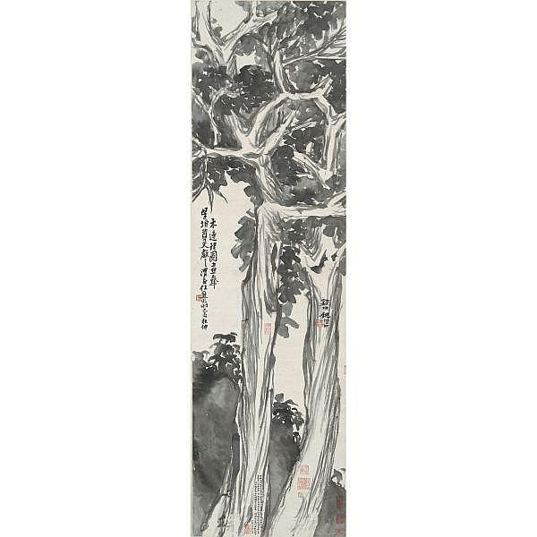 Ren Xiong 1823-1857 , ENTWINED TREES   ink and colour on paper, hanging scroll