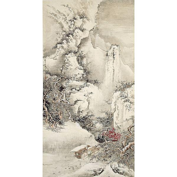Wu Jingting (1904-1972) , SNOWY MOUNTAINS ink and colour on paper, hanging scroll