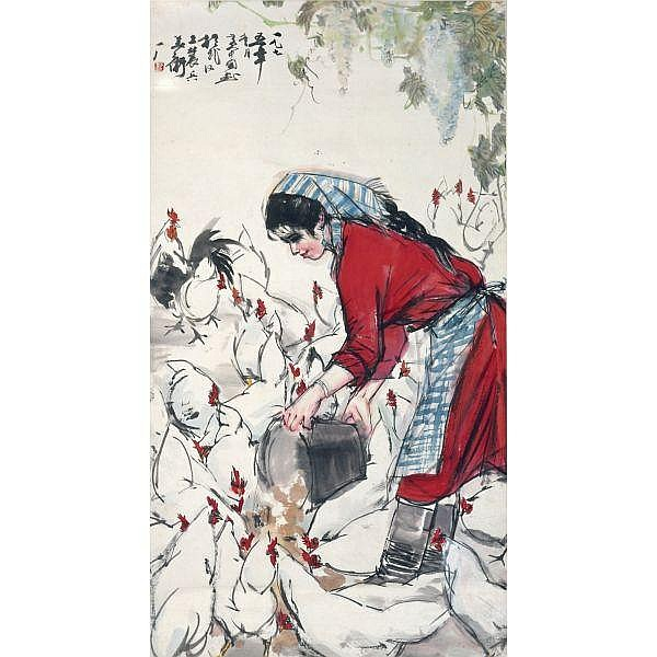 Huang Zhou 1925-1997 , POULTRY FEEDING ink and colour on paper, hanging scroll
