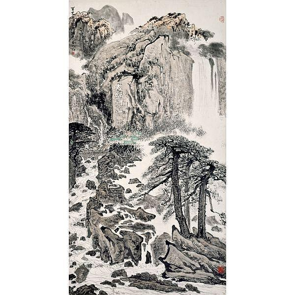 Ya Ming 1924-2002 , GIANT WATERFALL ink and colour on paper, framed