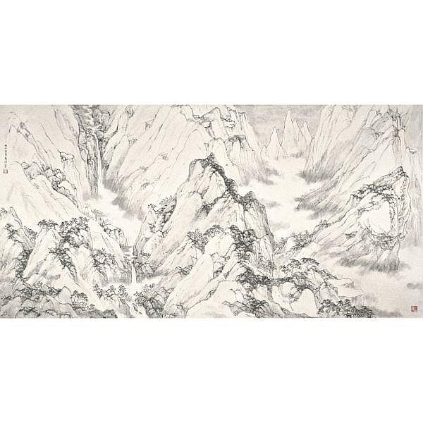 Zhang Hong (Arnold Chang) b. 1954 , PANORAMA ink on paper, framed