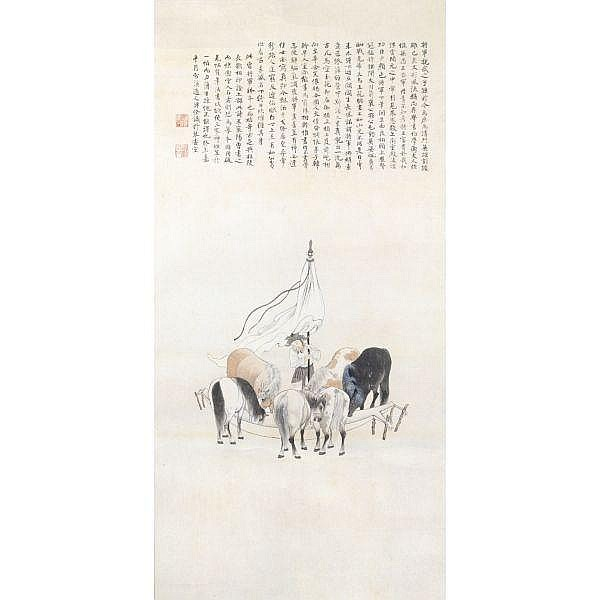 Pu Quan (1913-1991) , SIX STEEDS ink and light colour on paper, hanging scroll