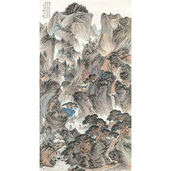 Zheng Wuchang 1894-1952 , ENDLESS PEAKS ink and colour on paper, hanging scroll