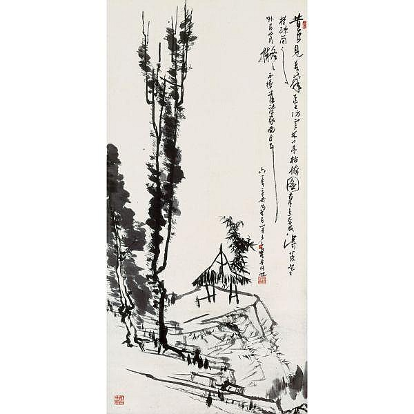 Pan Tianshou (1897-1971) , PAVILLION AND WITHERED TREES ink on paper, hanging scroll