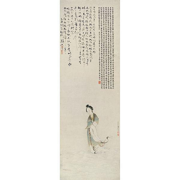 Ju Lian 1828-1904 , GODDESS OF RIVER LUO ink and light colour on paper, hanging scroll