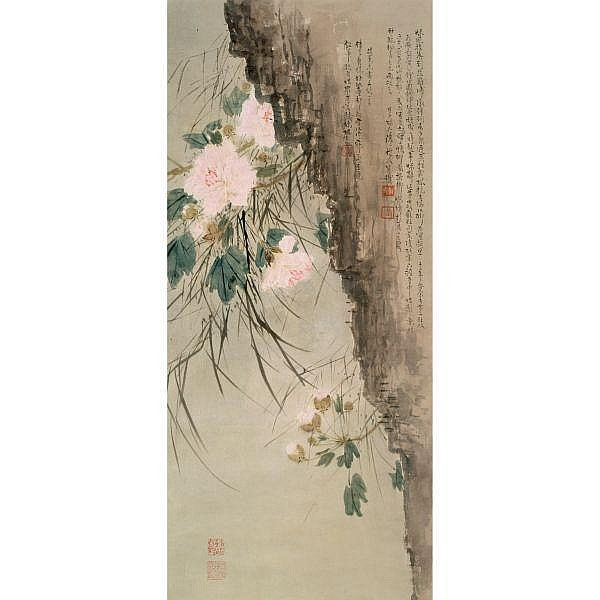 Chen Shuren 1884-1948 , COTTON ROSE HIBISCUS ink and colour on paper, hanging scroll