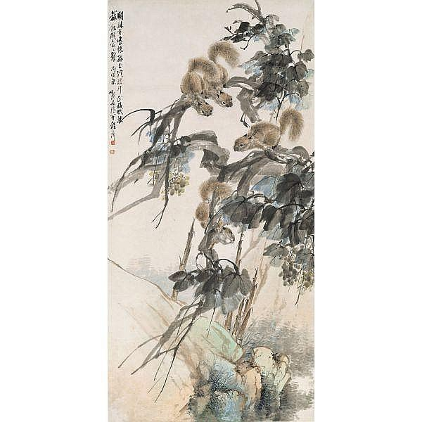 Cheng Zhang 1869-1938 , SQUIRRELS AND GRAPEVINES   ink and colour on paper, hanging scroll