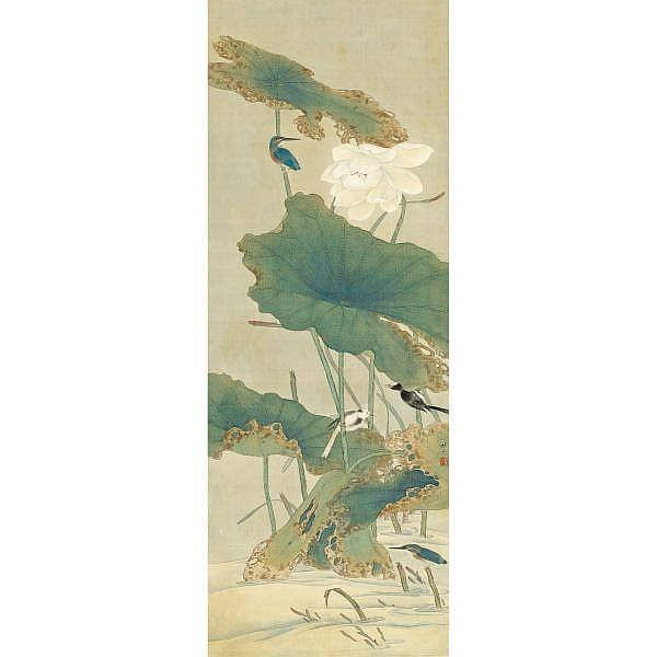 Tian Shiguang (1916-1999) , KINGFISHER AND LOTUS ink and colour on silk, hanging scroll
