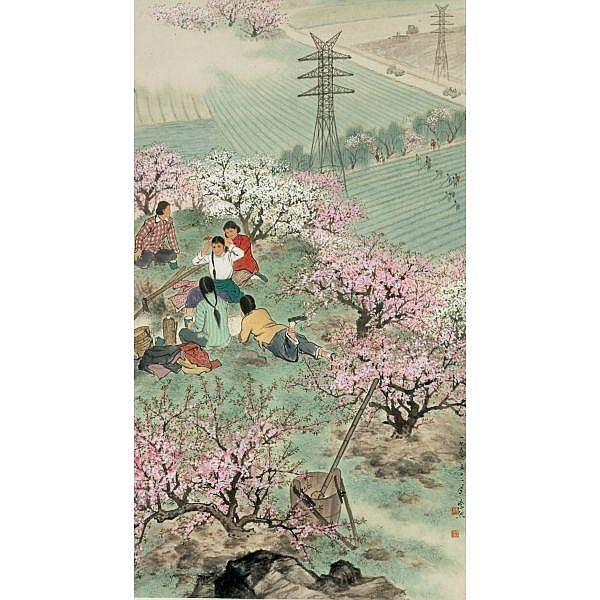 Wei Zixi 1915-2002 , SPRINGTIME   ink and colour on paper, hanging scroll
