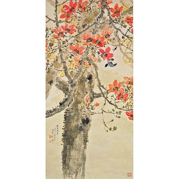 Chen Shuren 1884-1948 , COTTON ROSE ink and colour on paper, hanging scroll