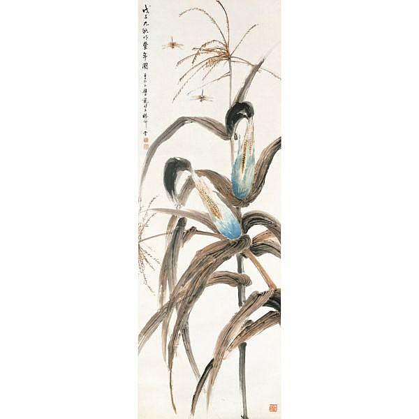Yan Bolong 1898-1954 , CORNSTALKS AND DRAGONFLIES ink and colour on paper, hanging scroll