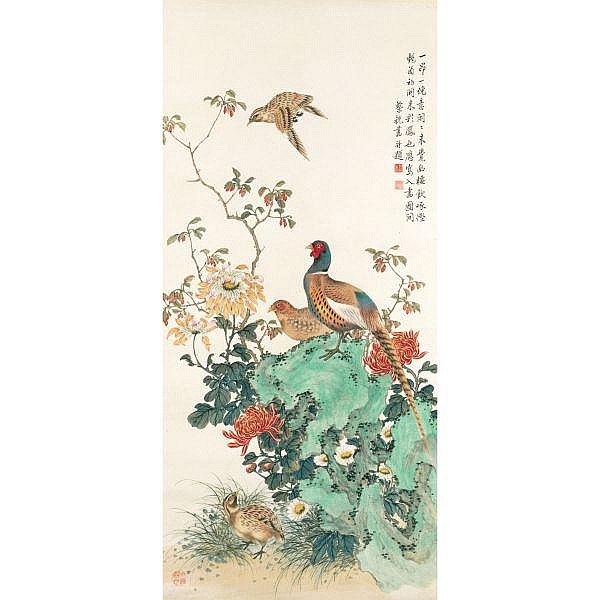 Cai Xian 1897-1960 , CHRYSANTHEMUMS AND PHEASANTS ink and colour on paper, hanging scroll