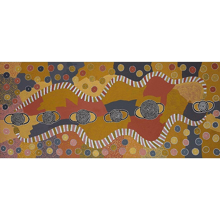 BILLY STOCKMAN TJAPALTJARRI CIRCA 1927 CARPET SNAKES AT ILPITTERI