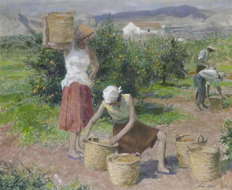 NORMAN HEPPLE, 1908-1993 ORANGE PICKERS, VALENCIA