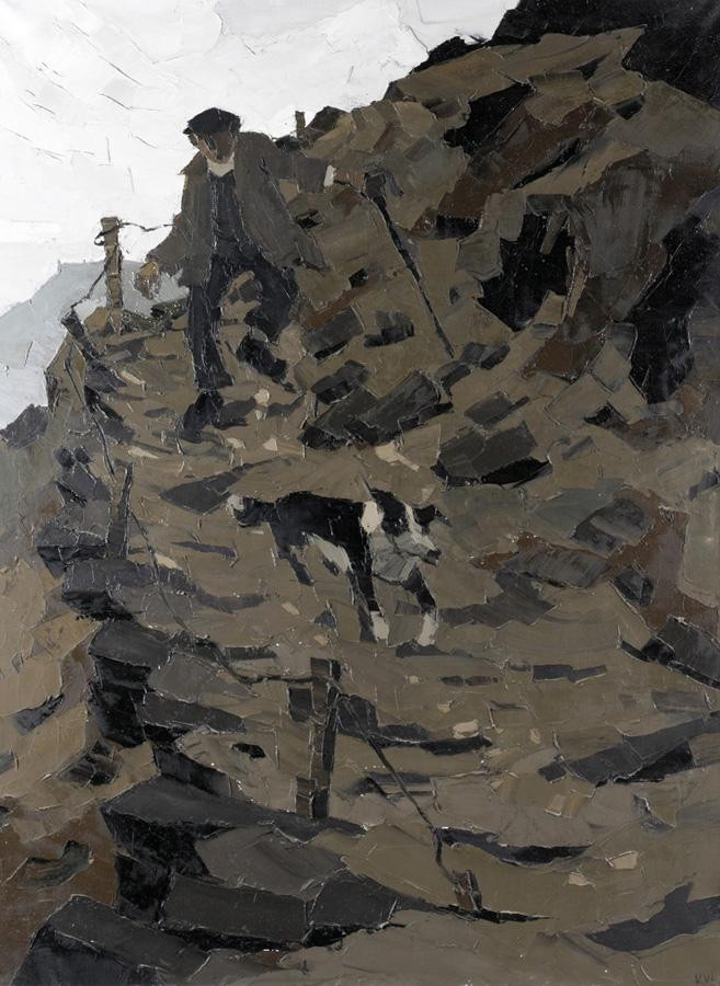 SIR KYFFIN WILLIAMS, R.A., B.1918 A HILL FARMER AND HIS DOG
