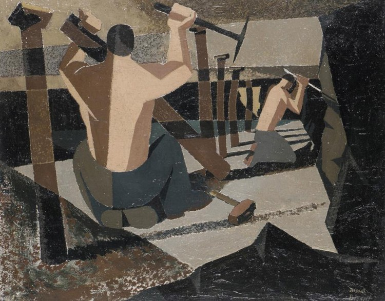 GEORGE BISSILL, 1896-1973 REMOVING PROPS