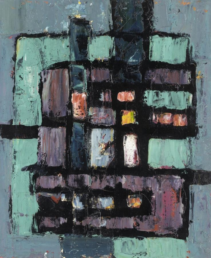 FRANK AVRAY WILSON, B.1914 ABSTRACT IN GREEN, BLUE AND BLACK