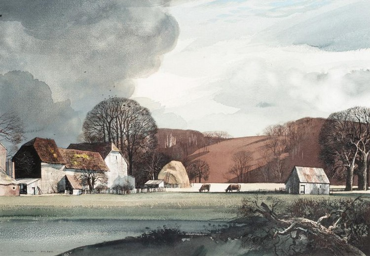 ROWLAND HILDER, 1905-1993 FARM LANDSCAPE