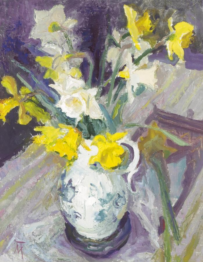 MARGARET THOMAS, B.1916 STILL LIFE OF DAFFODILS