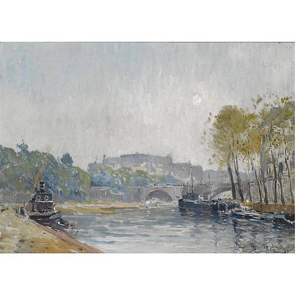 Paul Mathieu (1872-1932) , View of the Seine, Paris oil on panel