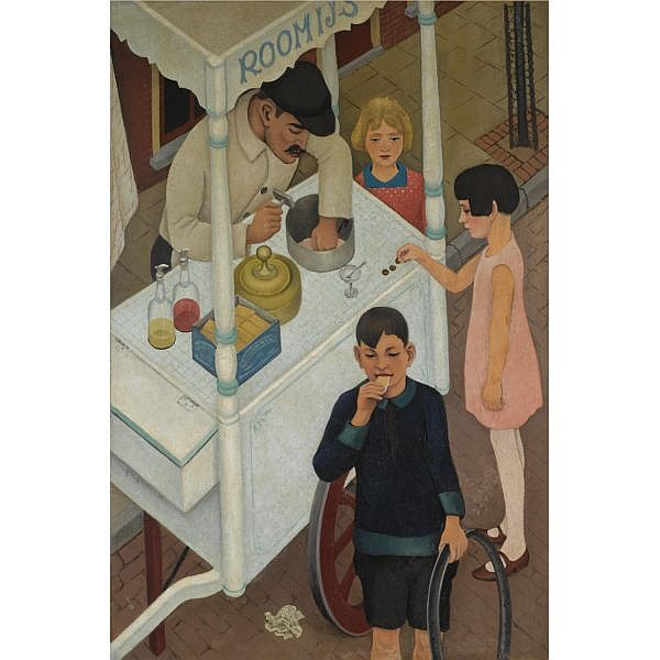 Ger Gerrits (1893-1965) , IJskarretje oil on canvas