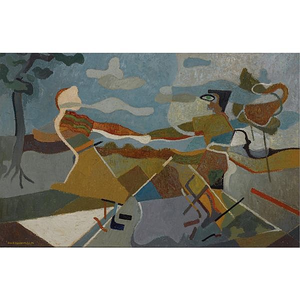 Harry van Kruiningen (1906-1996) , Twee Dansende Figuren oil on canvas