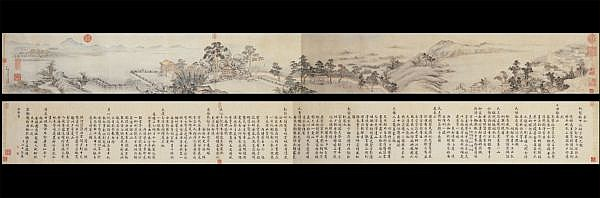 DONG BANGDA 1699-1769 , THE MID-AUTUMN FESTIVAL AT THE IMPERIAL GARDEN ink on paper; ink and colour on paper, handscroll