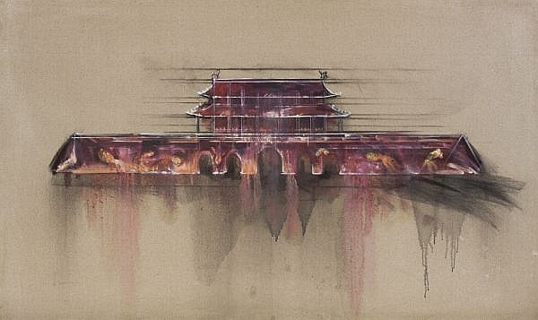 Lu Hao , B. 1969 Tiananmen oil on canvas