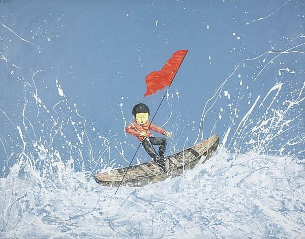 Li Jikai , B. 1975 Paddling acrylic on canvas