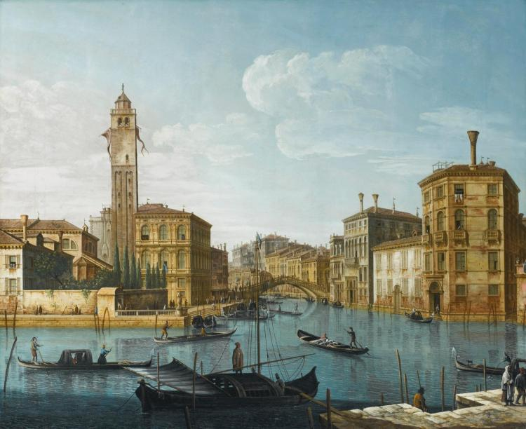 PIETRO BELLOTTI | Venice,the grand canal at the entrance to the Cannaregio with the church of San Geremia and the Palazzo Labia