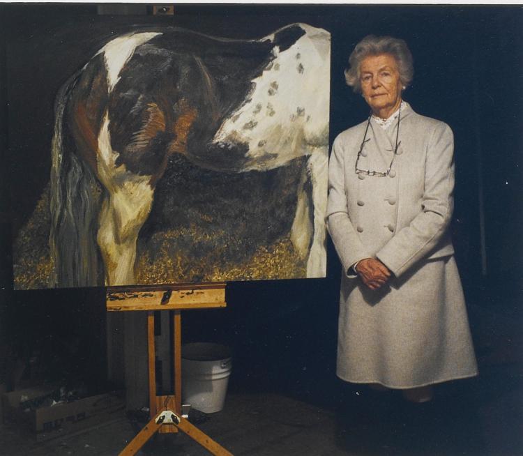 DAVID DAWSON | <em>Deborah, Dowager Duchess of Devonshire and 'Skewbald Mare', </em>2004